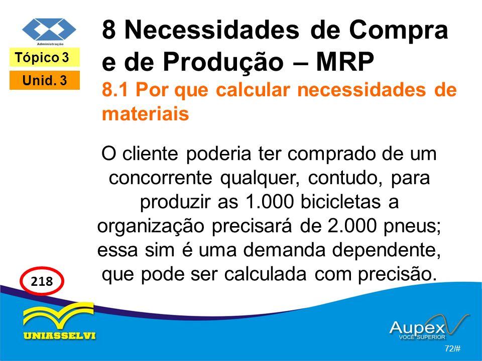 8 Necessidades de Compra e de Produção – MRP 8.1 Por que calcular necessidades de materiais O cliente poderia ter comprado de um concorrente qualquer,