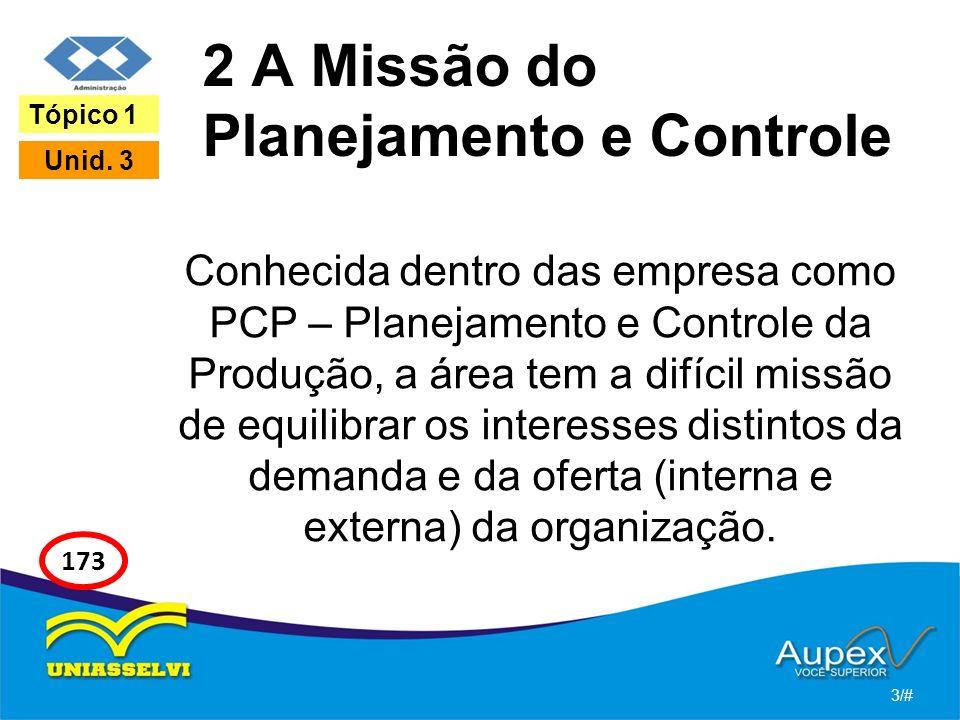 2 A Missão do Planejamento e Controle Conhecida dentro das empresa como PCP – Planejamento e Controle da Produção, a área tem a difícil missão de equilibrar os interesses distintos da demanda e da oferta (interna e externa) da organização.