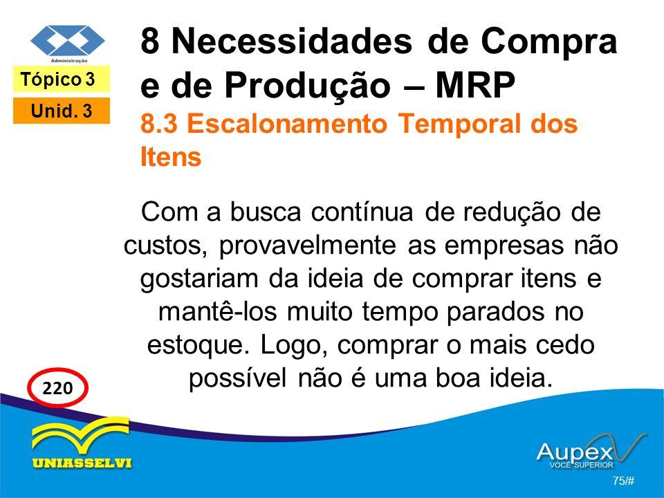 8 Necessidades de Compra e de Produção – MRP 8.3 Escalonamento Temporal dos Itens Com a busca contínua de redução de custos, provavelmente as empresas