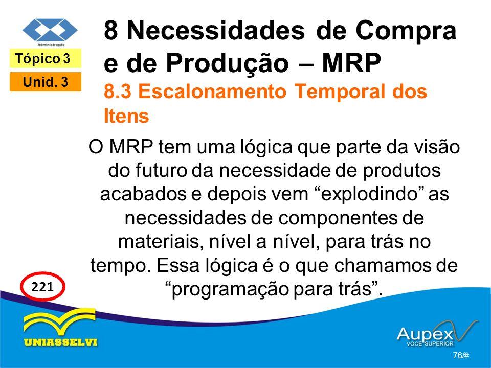 8 Necessidades de Compra e de Produção – MRP 8.3 Escalonamento Temporal dos Itens O MRP tem uma lógica que parte da visão do futuro da necessidade de produtos acabados e depois vem explodindo as necessidades de componentes de materiais, nível a nível, para trás no tempo.
