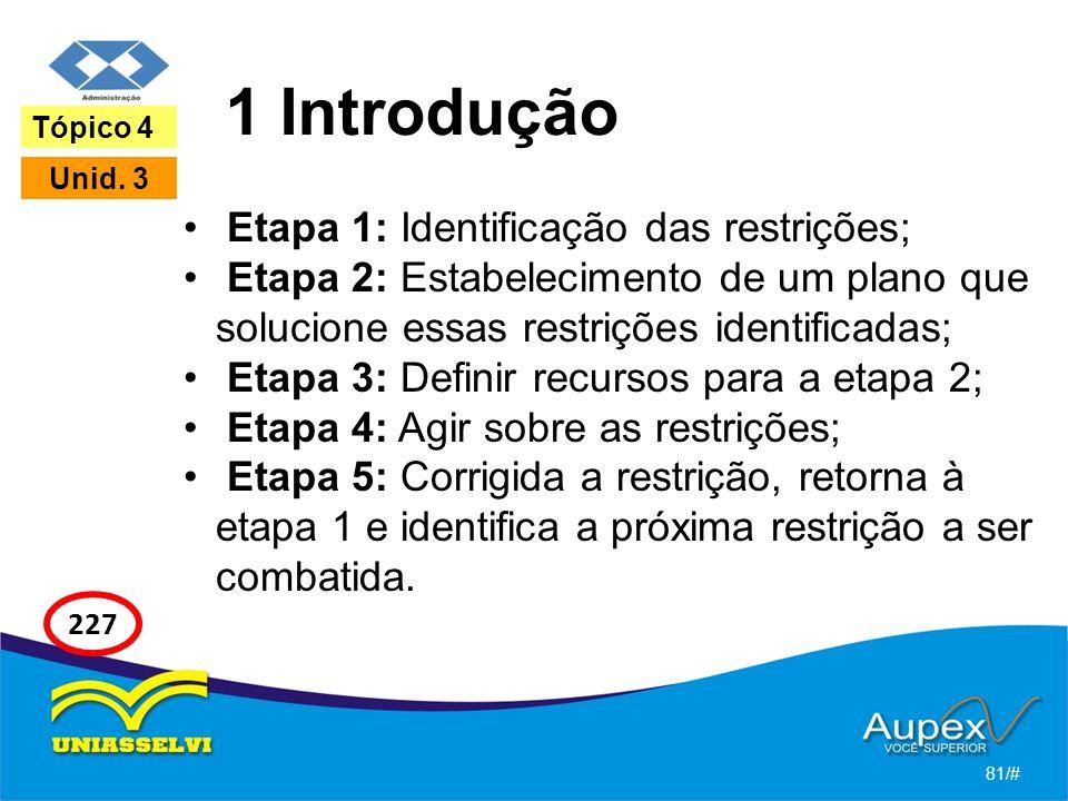 1 Introdução Etapa 1: Identificação das restrições; Etapa 2: Estabelecimento de um plano que solucione essas restrições identificadas; Etapa 3: Defini