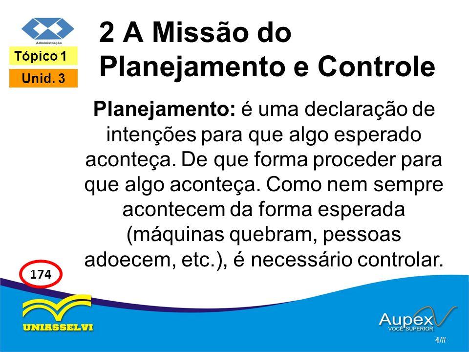2 A Missão do Planejamento e Controle Planejamento: é uma declaração de intenções para que algo esperado aconteça. De que forma proceder para que algo