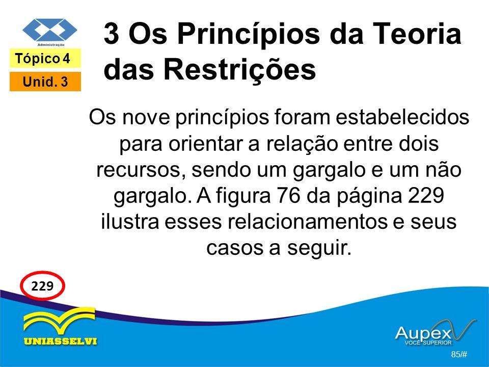 3 Os Princípios da Teoria das Restrições Os nove princípios foram estabelecidos para orientar a relação entre dois recursos, sendo um gargalo e um não