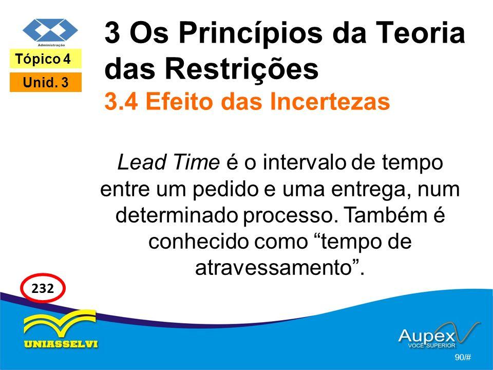 3 Os Princípios da Teoria das Restrições 3.4 Efeito das Incertezas Lead Time é o intervalo de tempo entre um pedido e uma entrega, num determinado processo.