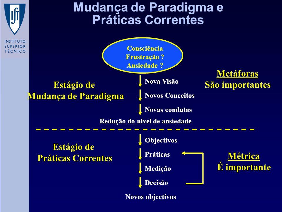 Mudança de Paradigma e Práticas Correntes Nova Visão Novos Conceitos Novas condutas Novos objectivos Decisão Medição Práticas Objectivos Redução do ní