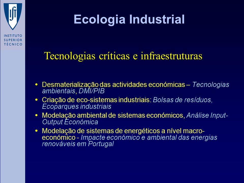 Ecologia Industrial Desmaterialização das actividades económicas Desmaterialização das actividades económicas – Tecnologias ambientais, DMI/PIB Criaçã