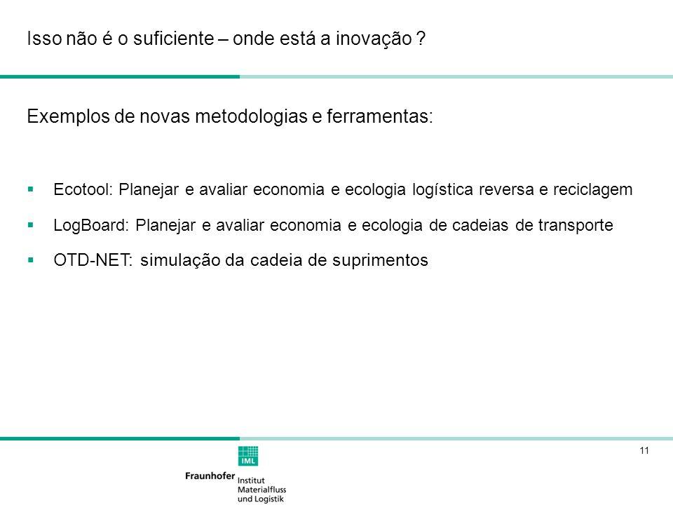 11 Exemplos de novas metodologias e ferramentas: Ecotool: Planejar e avaliar economia e ecologia logística reversa e reciclagem LogBoard: Planejar e a
