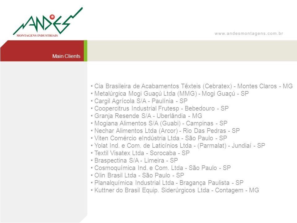 Main Clients Cia Brasileira de Acabamentos Têxteis (Cebratex) - Montes Claros - MG Metalúrgica Mogi Guaçú Ltda (MMG) - Mogi Guaçú - SP Cargil Agrícola