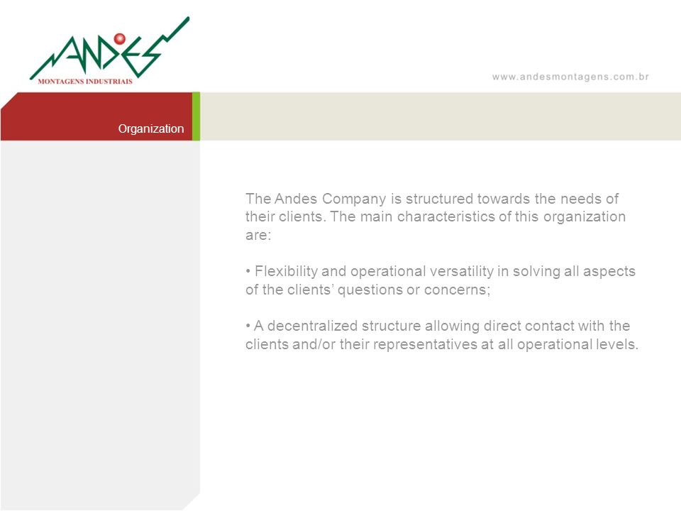 The Andes Company is structured towards the needs of their clients. The main characteristics of this organization are: Flexibility and operational ver
