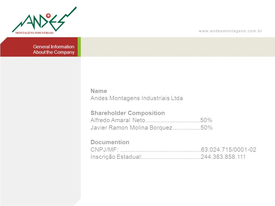 Name Andes Montagens Industriais Ltda Shareholder Composition Alfredo Amaral Neto................................50% Javier Ramon Molina Borquez......