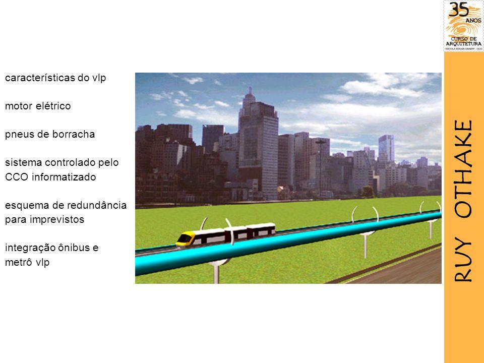 características do vlp motor elétrico pneus de borracha sistema controlado pelo CCO informatizado esquema de redundância para imprevistos integração ônibus e metrô vlp RUY OTHAKE