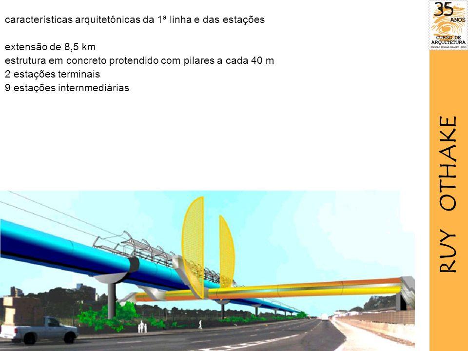 características arquitetônicas da 1ª linha e das estações extensão de 8,5 km estrutura em concreto protendido com pilares a cada 40 m 2 estações terminais 9 estações internmediárias RUY OTHAKE