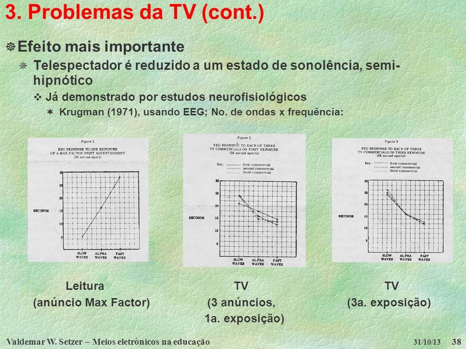 Valdemar W. Setzer – Meios eletrônicos na educação38 31/10/13 3. Problemas da TV (cont.) Efeito mais importante Telespectador é reduzido a um estado d