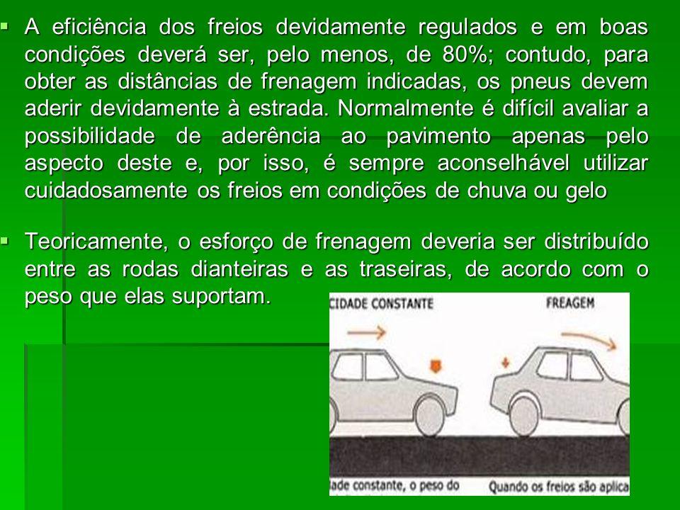 A eficiência dos freios devidamente regulados e em boas condições deverá ser, pelo menos, de 80%; contudo, para obter as distâncias de frenagem indica