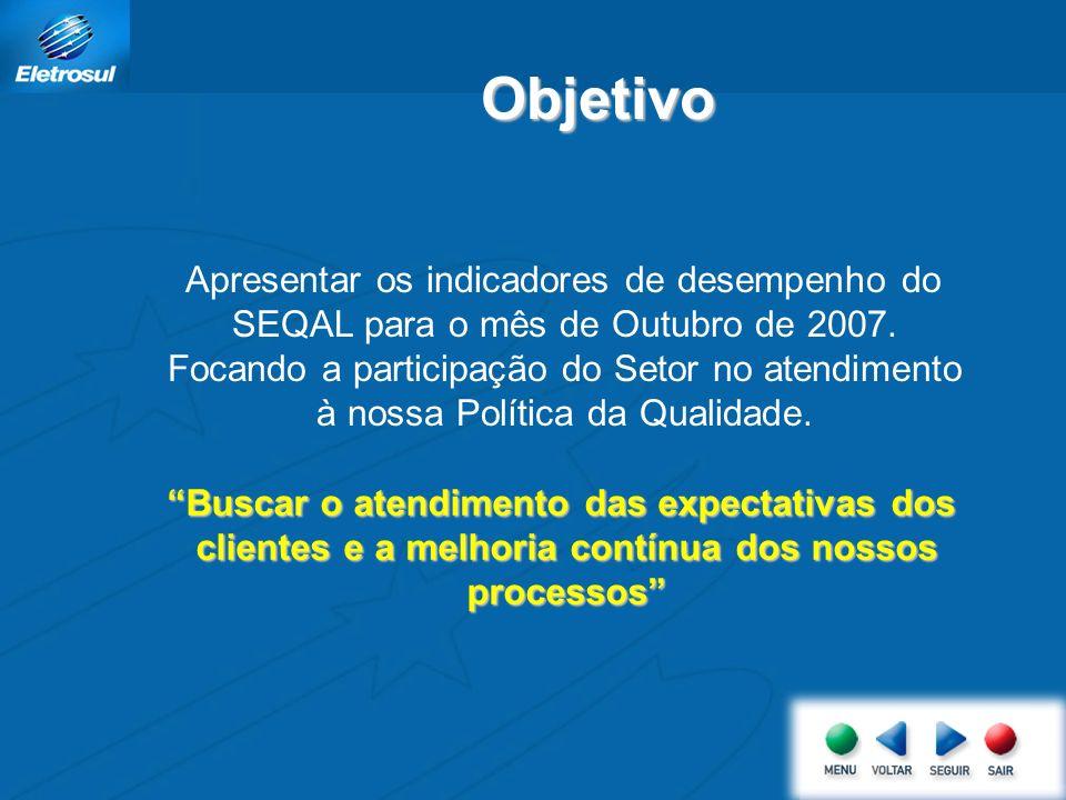 Apresentar os indicadores de desempenho do SEQAL para o mês de Outubro de 2007. Focando a participação do Setor no atendimento à nossa Política da Qua