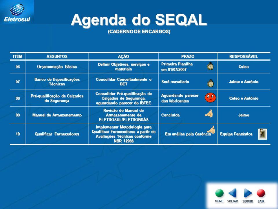 Agenda do SEQAL (CADERNO DE ENCARGOS) ITEMASSUNTOSAÇÃOPRAZORESPONSÁVEL 06 Orçamentação Básica Definir Objetivos, serviços e materiais Primeira Planilh