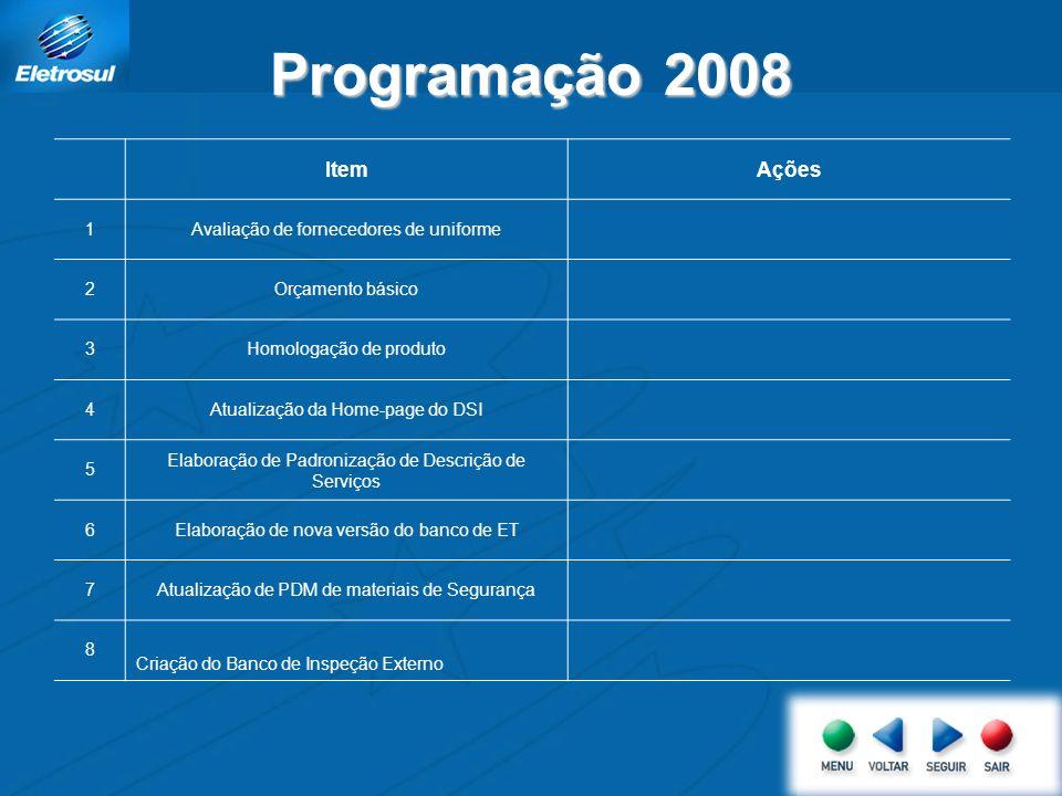 Programação 2008 ItemAções 1Avaliação de fornecedores de uniforme 2Orçamento básico 3Homologação de produto 4Atualização da Home-page do DSI 5 Elabora