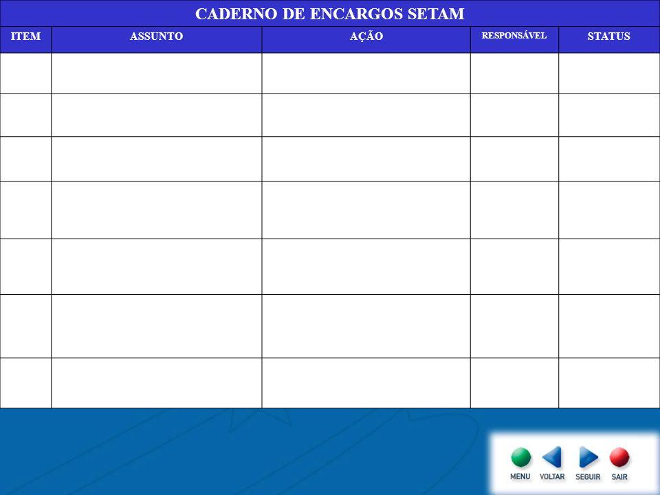 CADERNO DE ENCARGOS SETAM ITEMASSUNTOAÇÃO RESPONSÁVEL STATUS