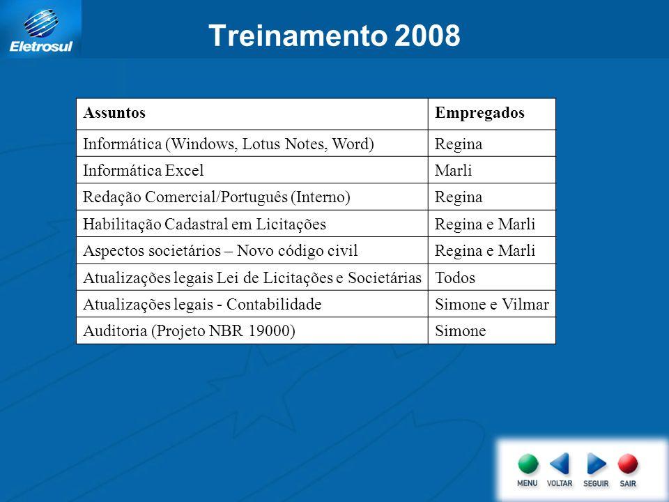 AssuntosEmpregados Informática (Windows, Lotus Notes, Word)Regina Informática ExcelMarli Redação Comercial/Português (Interno)Regina Habilitação Cadas