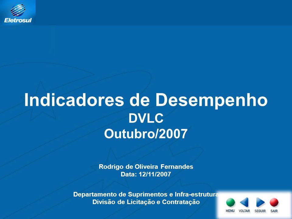 Indicadores de Desempenho DVLC Outubro/2007 Rodrigo de Oliveira Fernandes Data: 12/11/2007 Departamento de Suprimentos e Infra-estrutura Divisão de Li