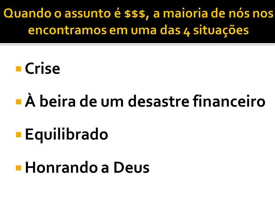 Crise À beira de um desastre financeiro Equilibrado Honrando a Deus