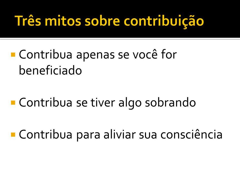 Contribua apenas se você for beneficiado Contribua se tiver algo sobrando Contribua para aliviar sua consciência