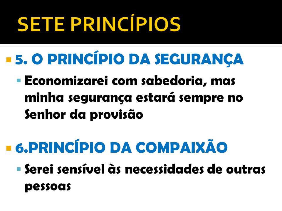 5. O PRINCÍPIO DA SEGURANÇA Economizarei com sabedoria, mas minha segurança estará sempre no Senhor da provisão 6.PRINCÍPIO DA COMPAIXÃO Serei sensíve