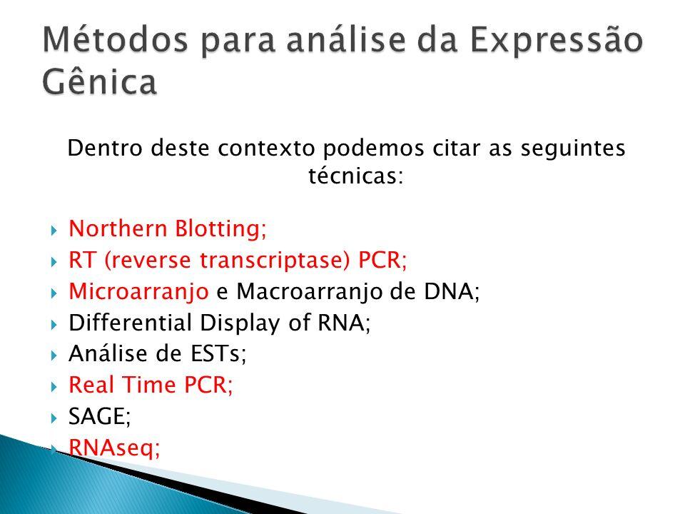 Dentro deste contexto podemos citar as seguintes técnicas: Northern Blotting; RT (reverse transcriptase) PCR; Microarranjo e Macroarranjo de DNA; Diff