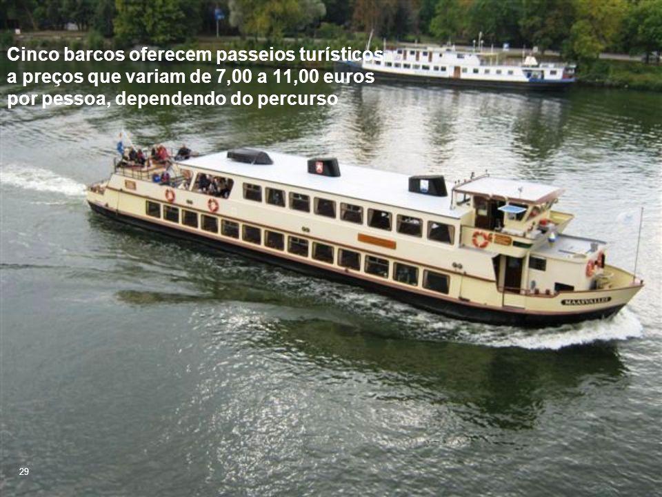 Cinco barcos oferecem passeios turísticos a preços que variam de 7,00 a 11,00 euros por pessoa, dependendo do percurso 29