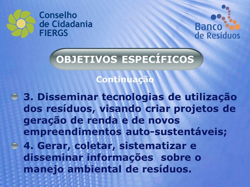 OBJETIVOS ESPECÍFICOS 3. Disseminar tecnologias de utilização dos resíduos, visando criar projetos de geração de renda e de novos empreendimentos auto