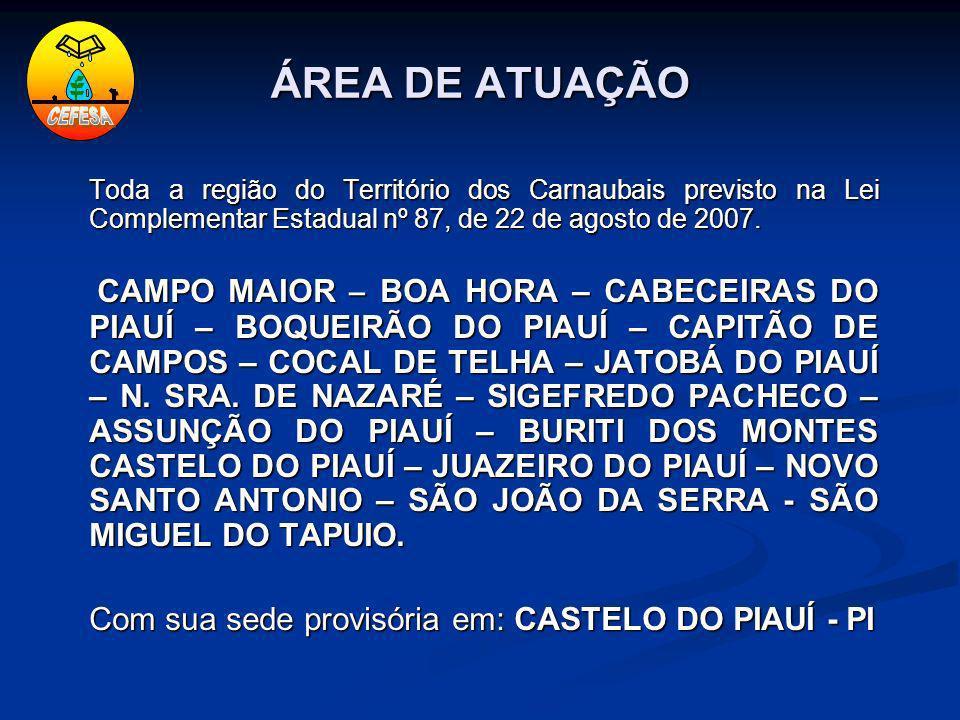 ÁREA DE ATUAÇÃO Toda a região do Território dos Carnaubais previsto na Lei Complementar Estadual nº 87, de 22 de agosto de 2007. CAMPO MAIOR – BOA HOR
