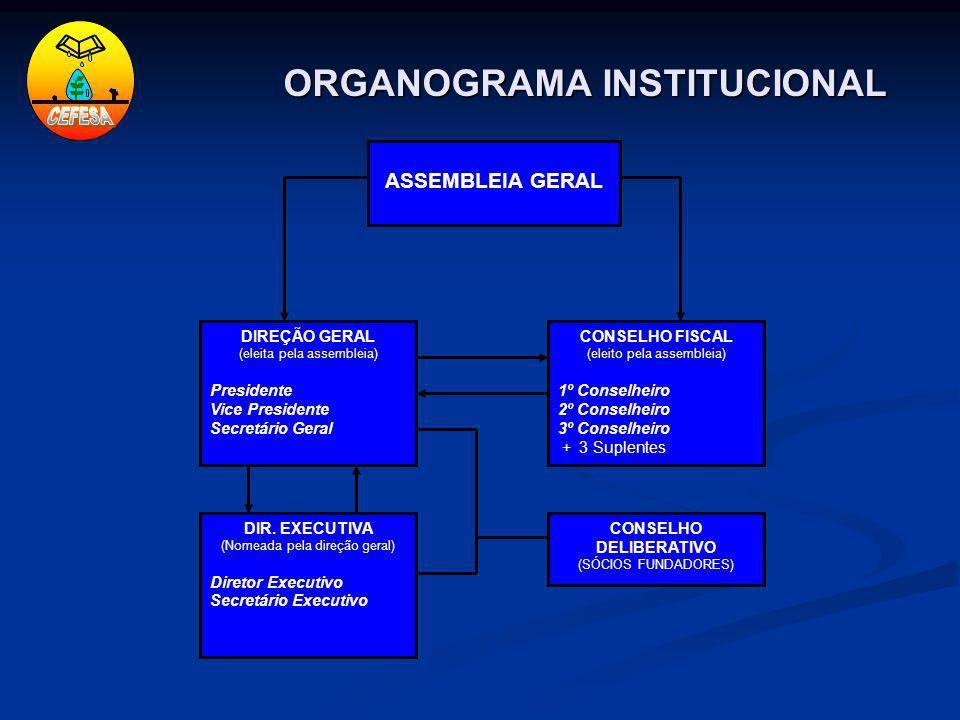 ORGANOGRAMA INSTITUCIONAL DIREÇÃO GERAL (eleita pela assembleia) Presidente Vice Presidente Secretário Geral ASSEMBLEIA GERAL DIR. EXECUTIVA (Nomeada