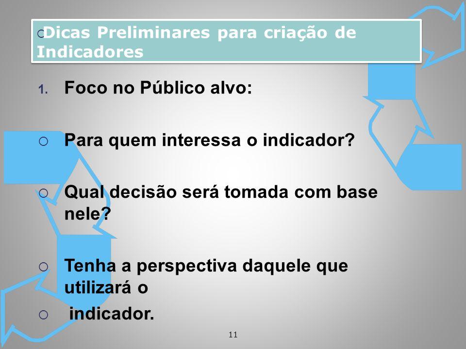 11 1. Foco no Público alvo: Para quem interessa o indicador? Qual decisão será tomada com base nele? Tenha a perspectiva daquele que utilizará o indic
