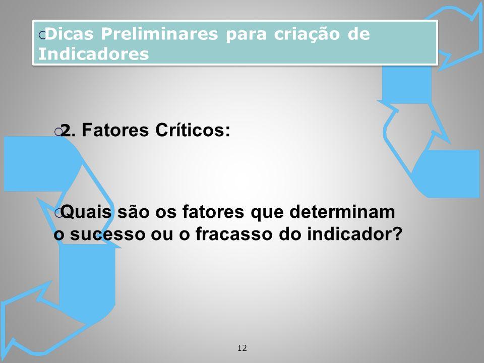 12 Dicas Preliminares para criação de Indicadores 2. Fatores Críticos: Quais são os fatores que determinam o sucesso ou o fracasso do indicador?