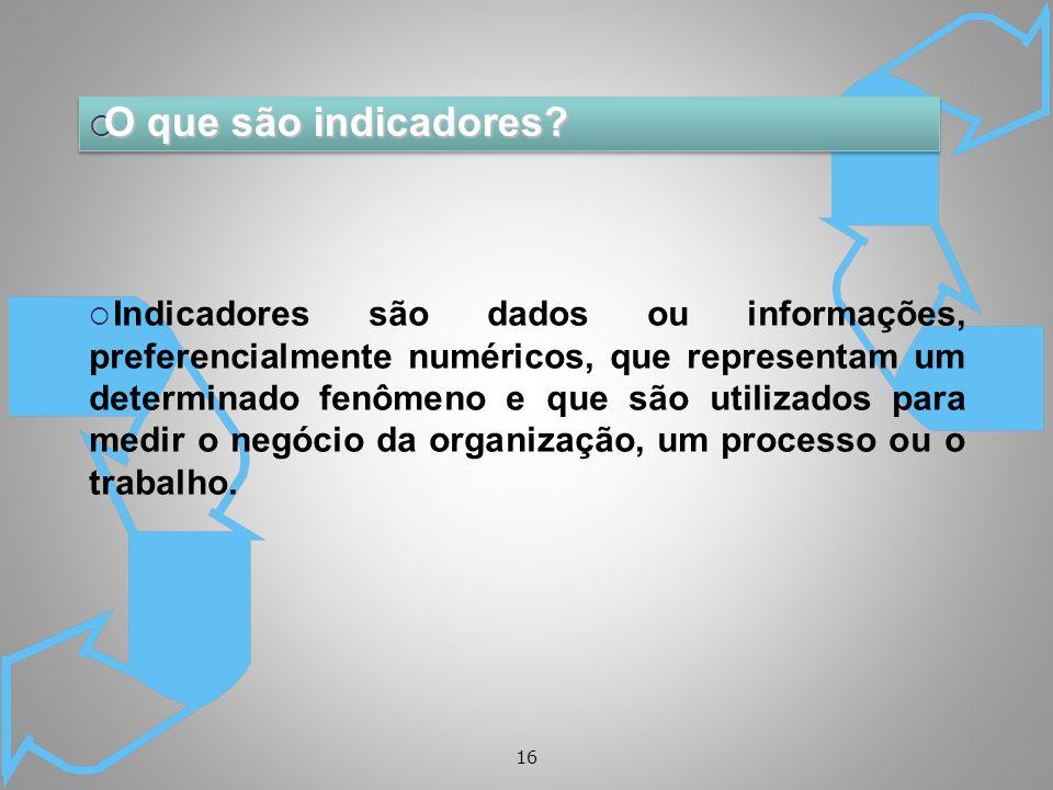 16 O que são indicadores? O que são indicadores? Indicadores são dados ou informações, preferencialmente numéricos, que representam um determinado fen