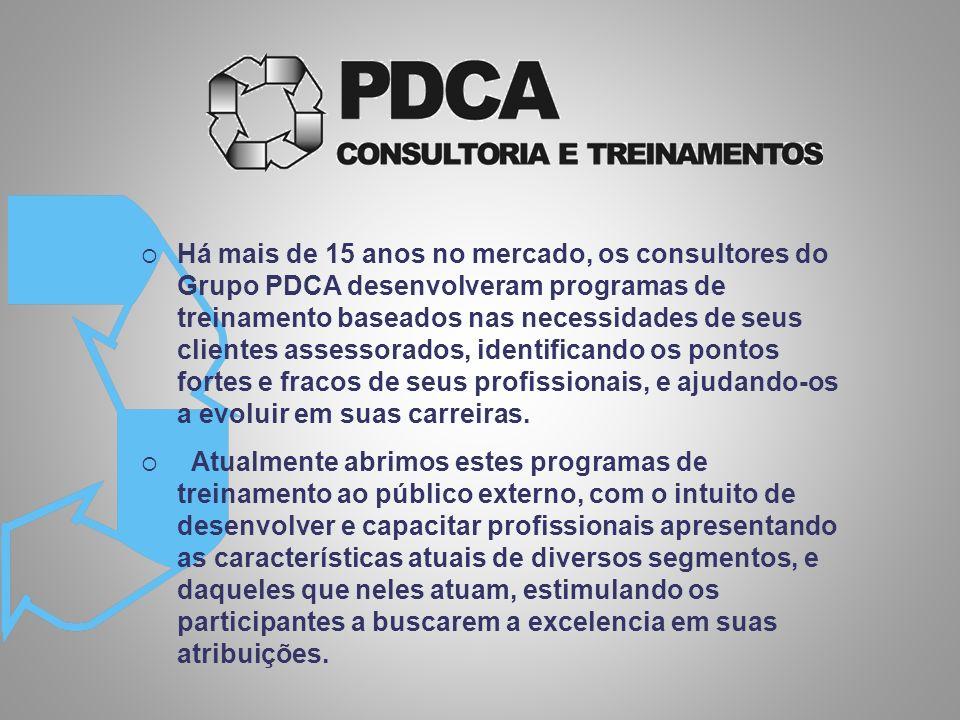Há mais de 15 anos no mercado, os consultores do Grupo PDCA desenvolveram programas de treinamento baseados nas necessidades de seus clientes assessorados, identificando os pontos fortes e fracos de seus profissionais, e ajudando-os a evoluir em suas carreiras.