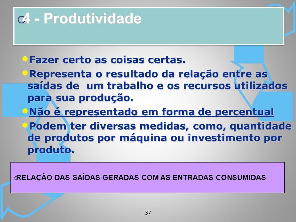37 4 - Produtividade 4 - Produtividade Fazer certo as coisas certas. Fazer certo as coisas certas. Representa o resultado da relação entre as saídas d