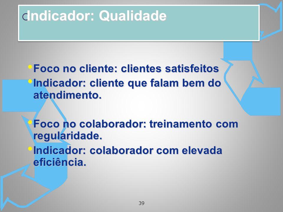 39 Indicador: Qualidade Indicador: Qualidade Foco no cliente: clientes satisfeitos Foco no cliente: clientes satisfeitos Indicador: cliente que falam bem do atendimento.