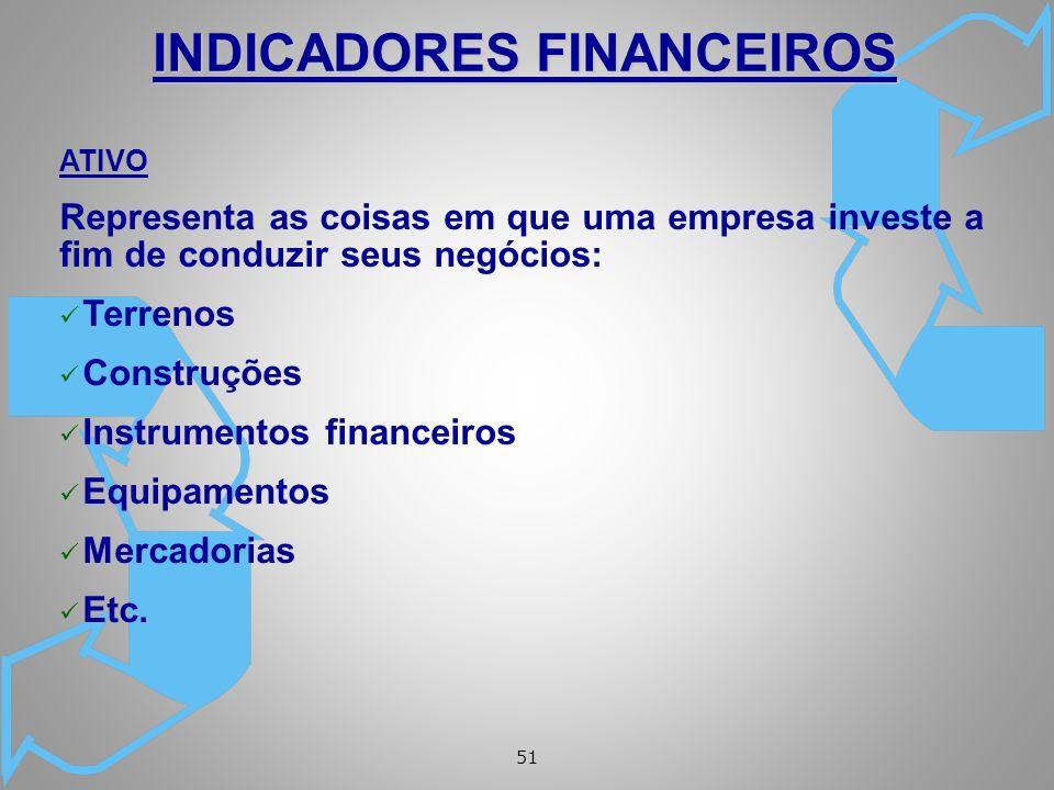 51 ATIVO Representa as coisas em que uma empresa investe a fim de conduzir seus negócios: ü Terrenos ü Construções ü Instrumentos financeiros ü Equipamentos ü Mercadorias ü Etc.
