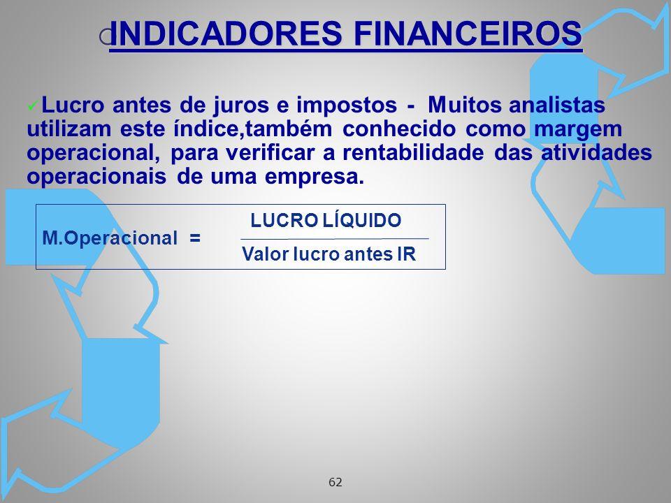 62 ü Lucro antes de juros e impostos - Muitos analistas utilizam este índice,também conhecido como margem operacional, para verificar a rentabilidade das atividades operacionais de uma empresa.