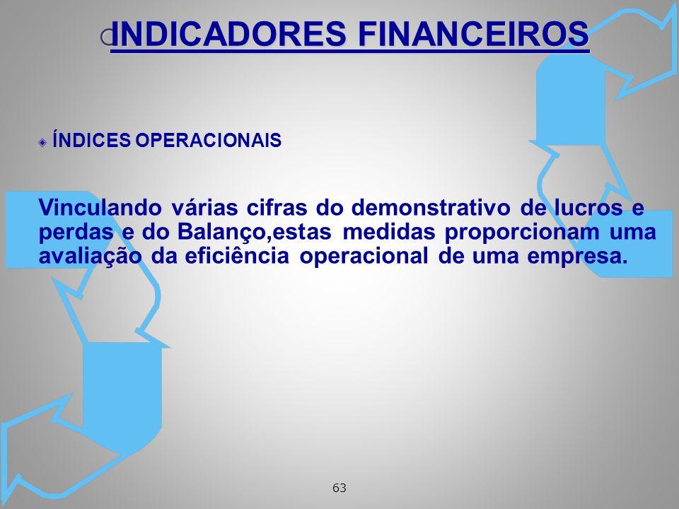 63 ÍNDICES OPERACIONAIS Vinculando várias cifras do demonstrativo de lucros e perdas e do Balanço,estas medidas proporcionam uma avaliação da eficiência operacional de uma empresa.