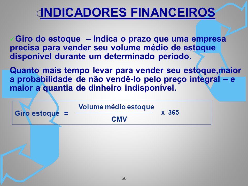 66 ü Giro do estoque – Indica o prazo que uma empresa precisa para vender seu volume médio de estoque disponível durante um determinado período.