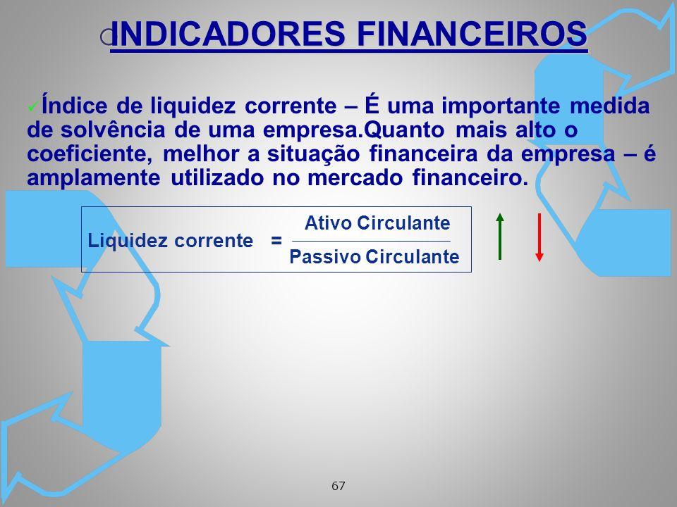 67 ü Índice de liquidez corrente – É uma importante medida de solvência de uma empresa.Quanto mais alto o coeficiente, melhor a situação financeira da empresa – é amplamente utilizado no mercado financeiro.