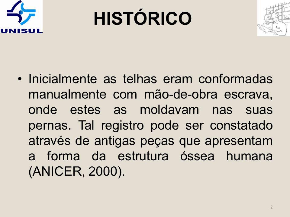 HISTÓRICO Inicialmente as telhas eram conformadas manualmente com mão-de-obra escrava, onde estes as moldavam nas suas pernas.