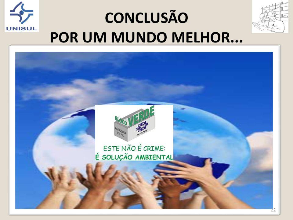 CONCLUSÃO POR UM MUNDO MELHOR... 22