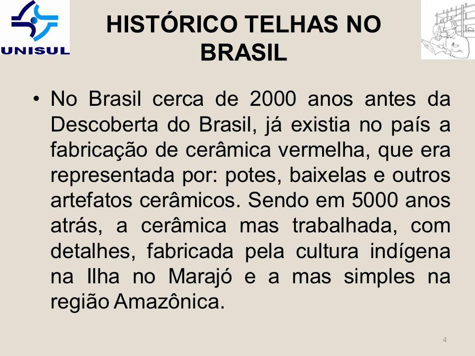 HISTÓRICO TELHAS NO BRASIL No Brasil cerca de 2000 anos antes da Descoberta do Brasil, já existia no país a fabricação de cerâmica vermelha, que era representada por: potes, baixelas e outros artefatos cerâmicos.