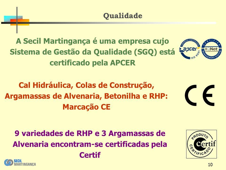 10 Qualidade A Secil Martingança é uma empresa cujo Sistema de Gestão da Qualidade (SGQ) está certificado pela APCER Cal Hidráulica, Colas de Construção, Argamassas de Alvenaria, Betonilha e RHP: Marcação CE 9 variedades de RHP e 3 Argamassas de Alvenaria encontram-se certificadas pela Certif
