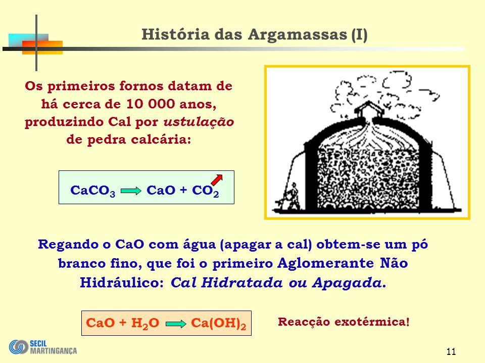11 História das Argamassas (I) Os primeiros fornos datam de há cerca de 10 000 anos, produzindo Cal por ustulação de pedra calcária: CaCO 3 CaO + CO 2 CaO + H 2 O Ca(OH) 2 Regando o CaO com água (apagar a cal) obtem-se um pó branco fino, que foi o primeiro Aglomerante Não Hidráulico: Cal Hidratada ou Apagada.