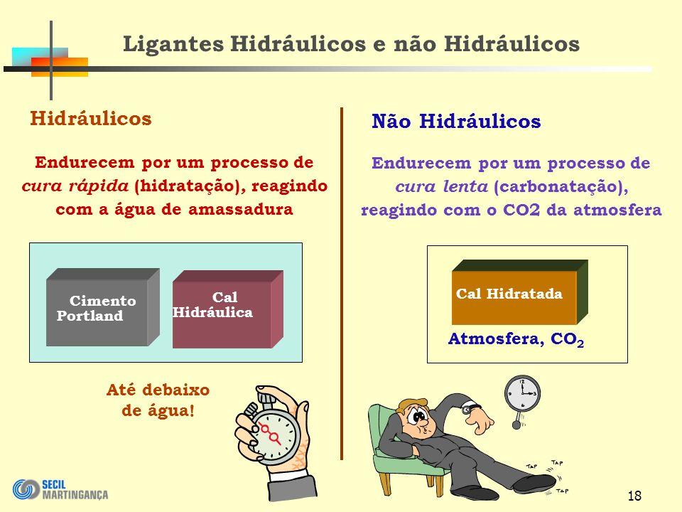 18 Ligantes Hidráulicos e não Hidráulicos Hidráulicos Não Hidráulicos Até debaixo de água.