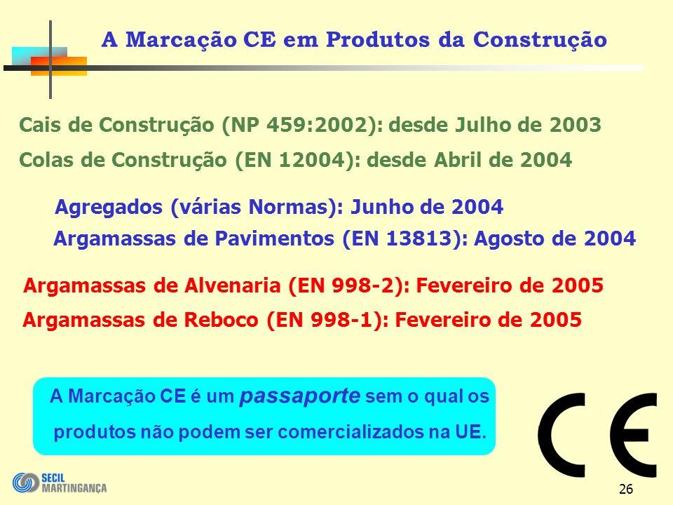 26 A Marcação CE em Produtos da Construção Cais de Construção (NP 459:2002): desde Julho de 2003 Colas de Construção (EN 12004): desde Abril de 2004 Argamassas de Pavimentos (EN 13813): Agosto de 2004 Argamassas de Alvenaria (EN 998-2): Fevereiro de 2005 Argamassas de Reboco (EN 998-1): Fevereiro de 2005 Agregados (várias Normas): Junho de 2004 A Marcação CE é um passaporte sem o qual os produtos não podem ser comercializados na UE.